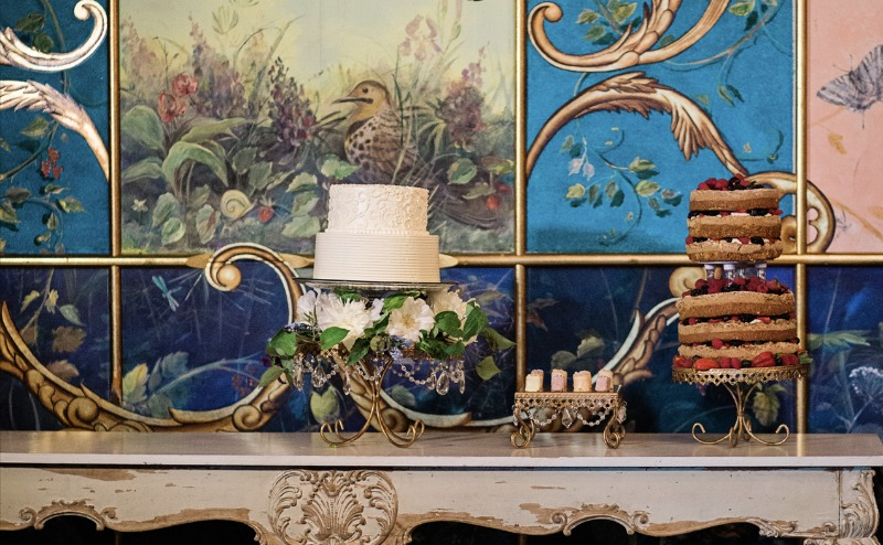 Chandelier metal cake plates available as a set of three, stack to create height and space to your dessert table.
