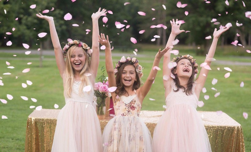 The left and the right blush dresses - blush Chantilly Lace dresses for amazing Special day for a flower girl or a junior bridesmaid