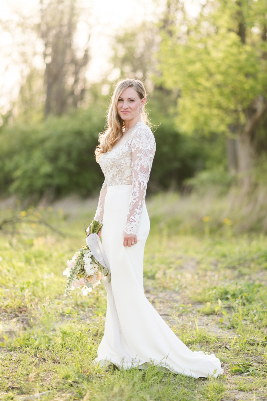 romantic and modern lacy wedding dress