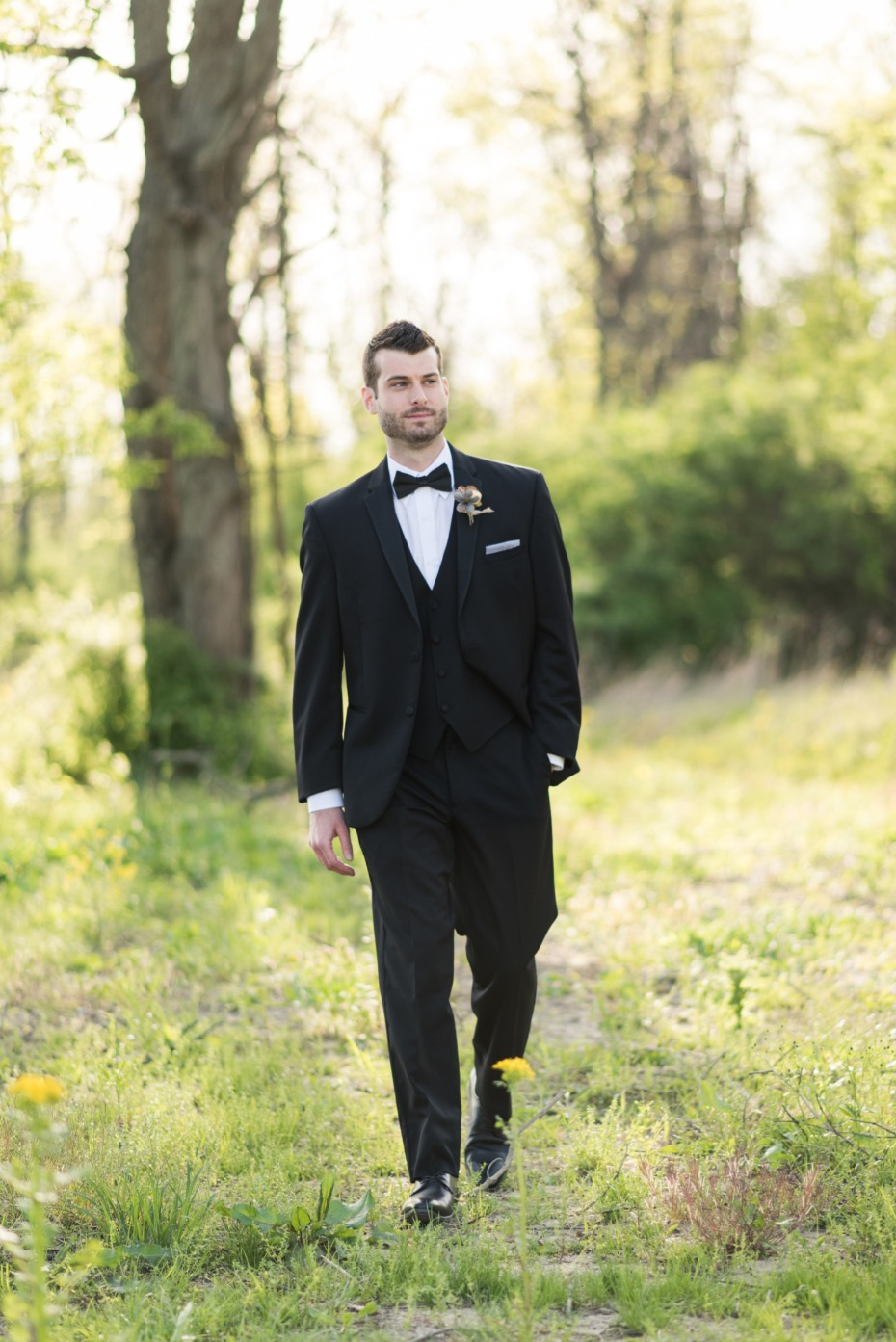 black and white tuxedo groom