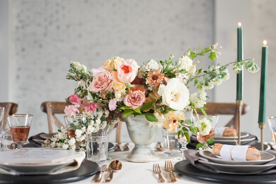 pink and peach wedding centerpiece ideas