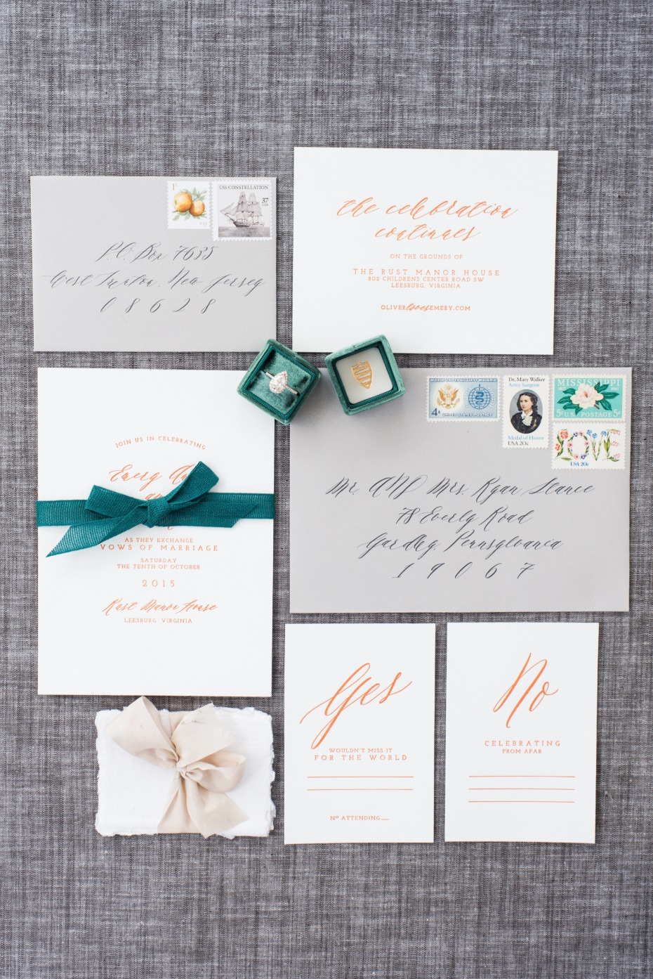 rose gold calligraphy wedding stationery