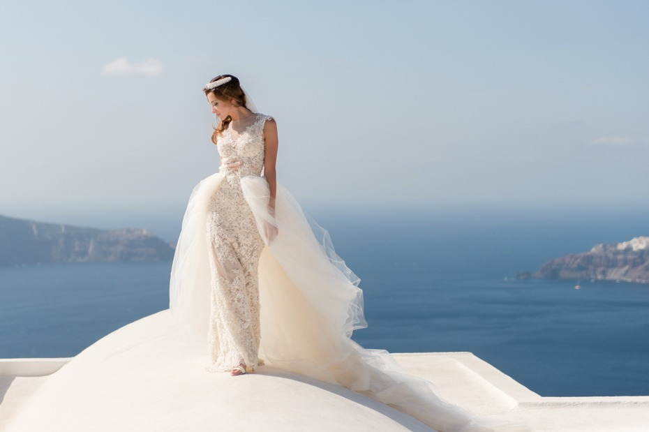 Lace gown with a tulle skirt