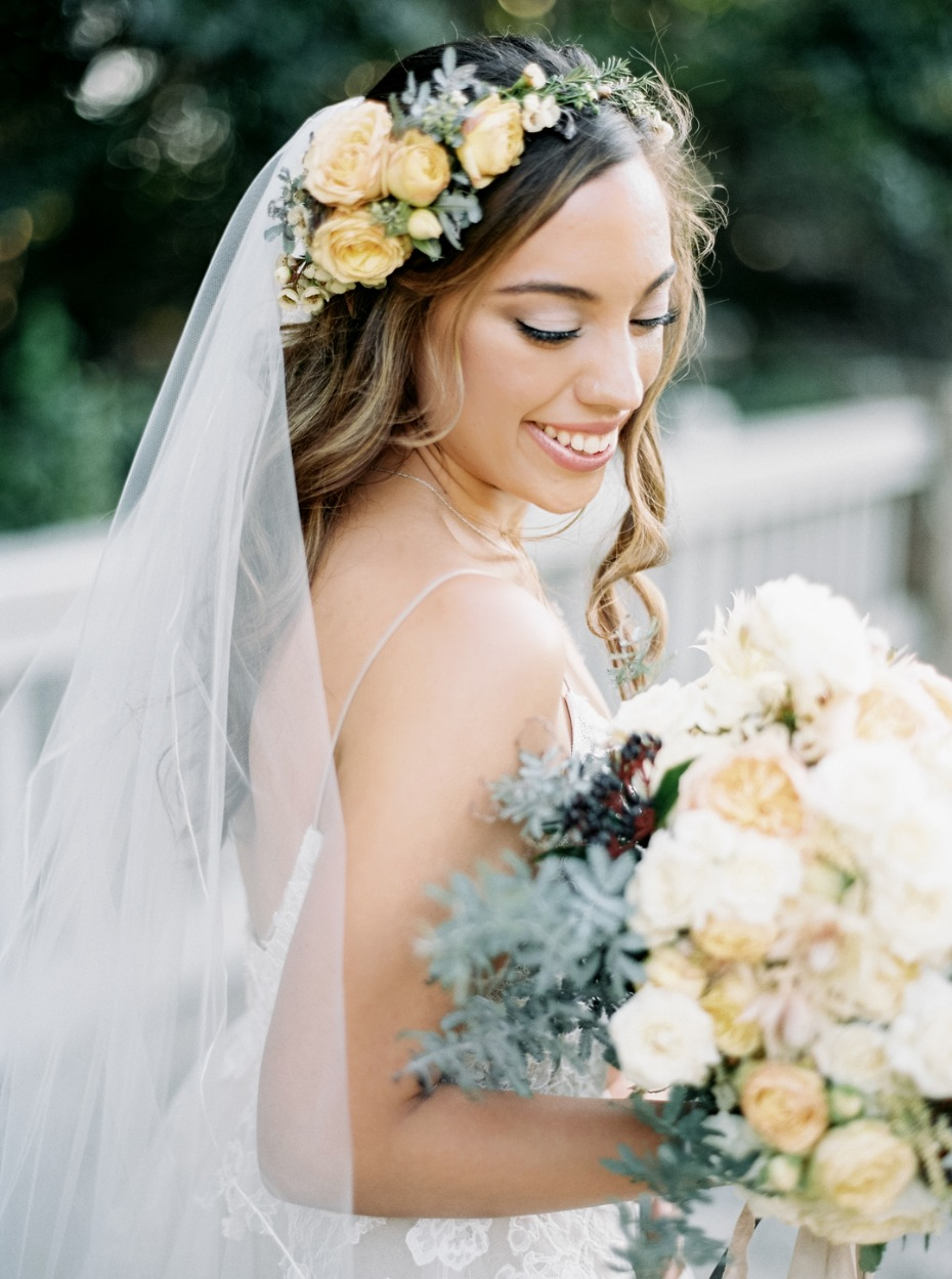 Love her garden bridal look