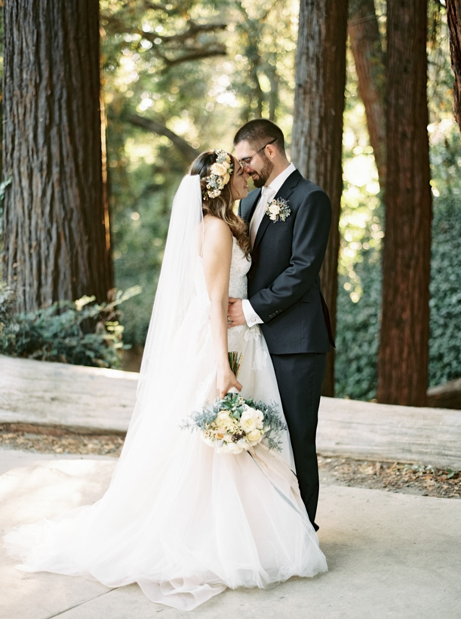 Garden redwood wedding