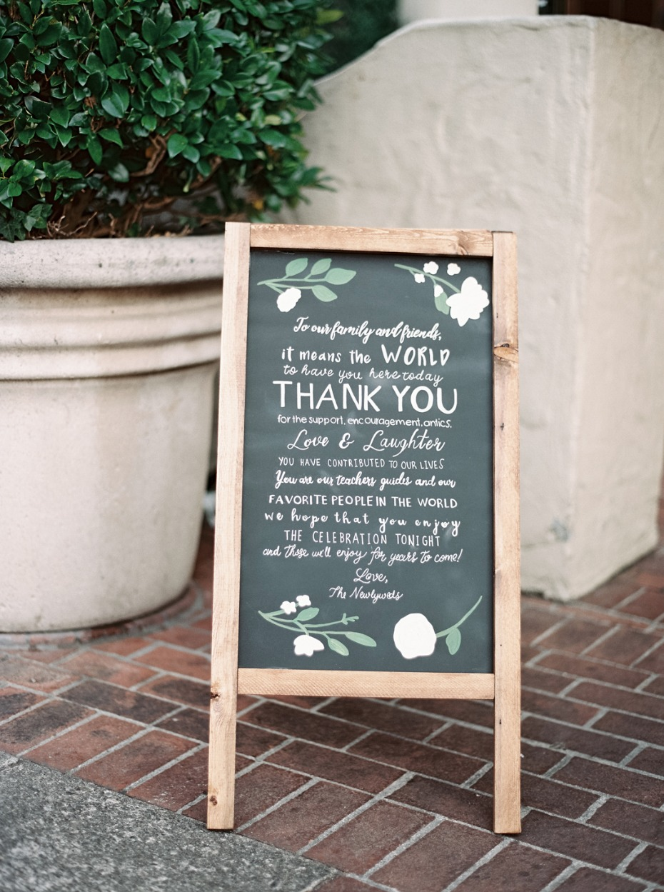 Thank you chalkboard sign idea