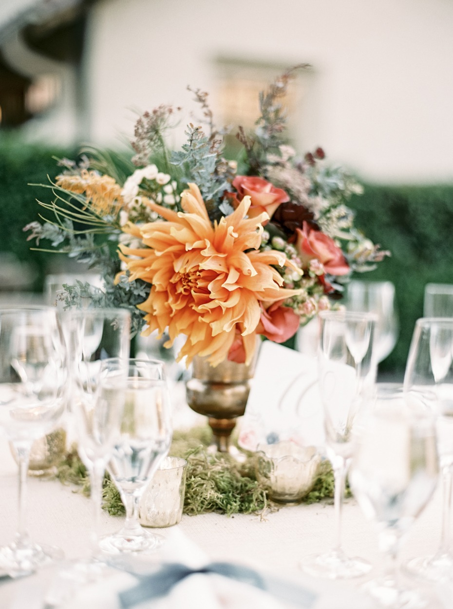 Floral centerpiece with candles