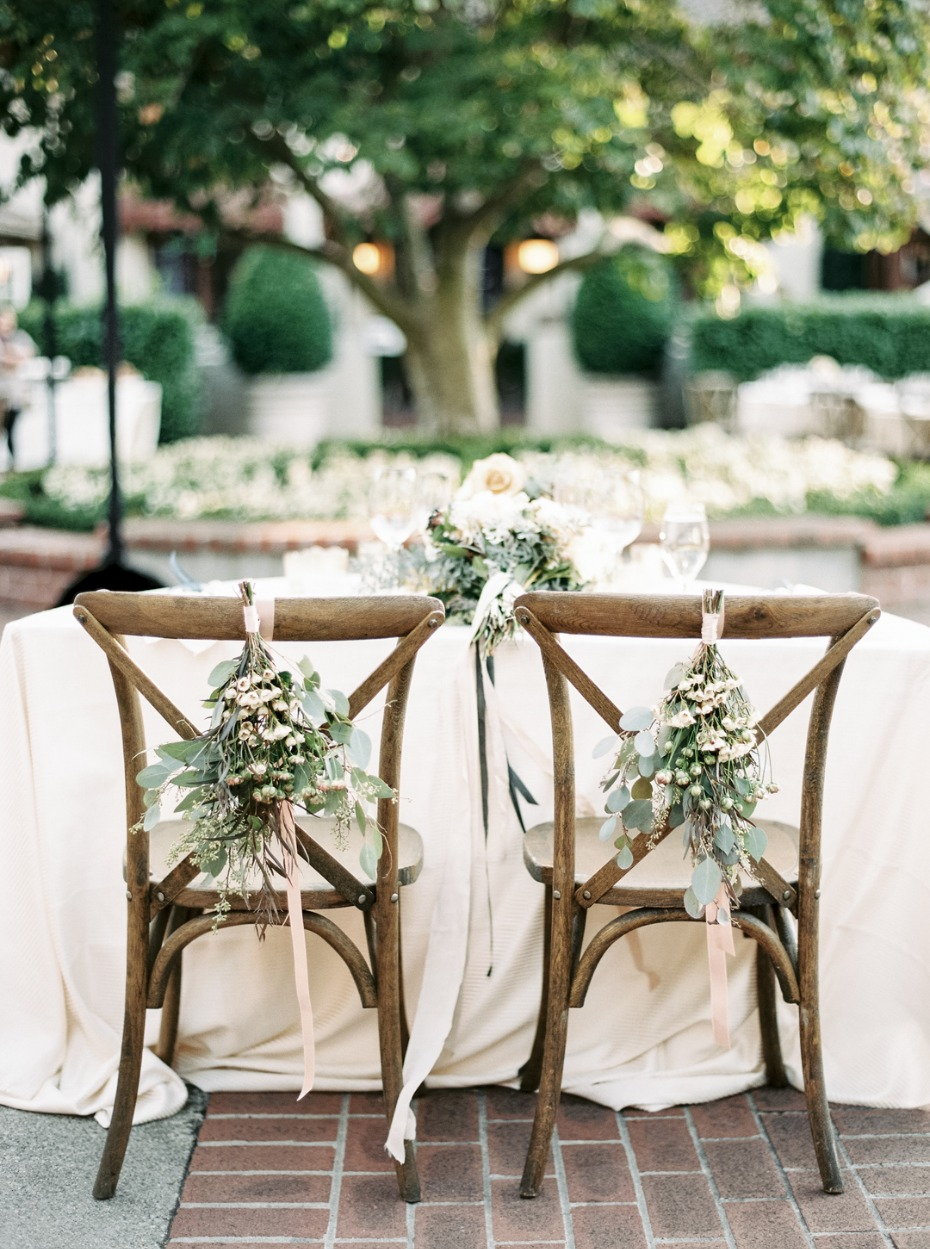 Hanging floral decor for the sweetheart chairs