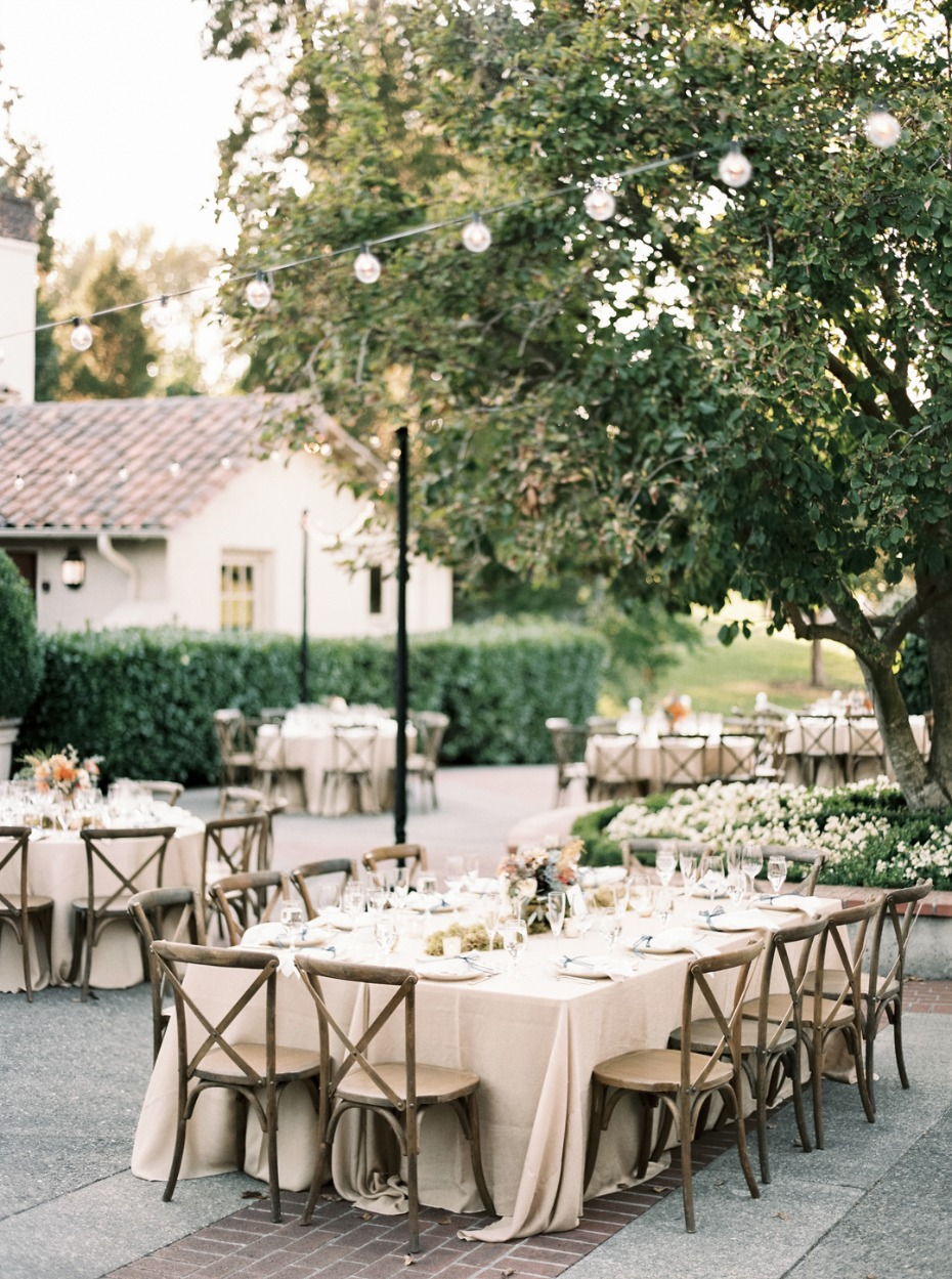 Natural chic outdoor garden party reception