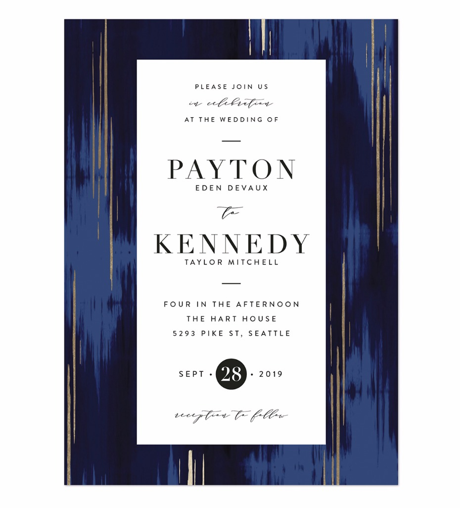 stylish navy blue wedding invite from Minted