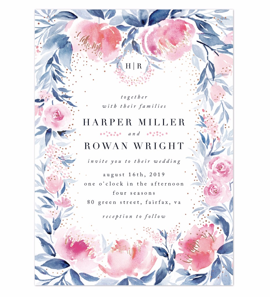 pink and blue watercolor floral invite with specs of gold from Minted