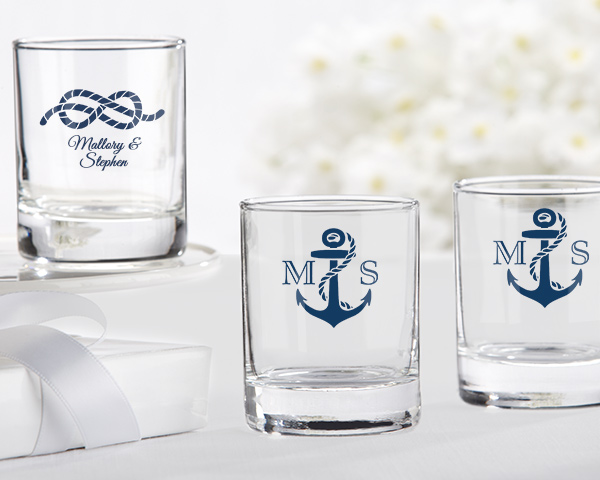 ⚓ Make your shot glass favors unforgettable by having them personalized with one our creative nautical designs.