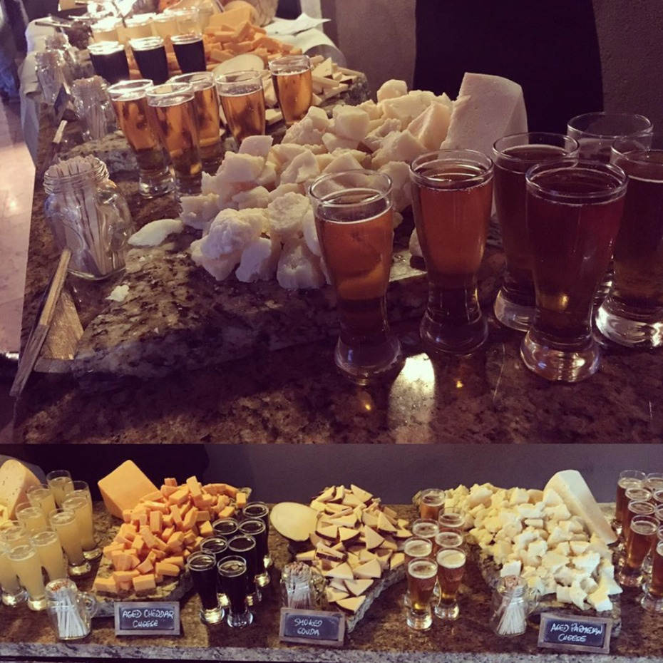beer cheese and pretzels station
