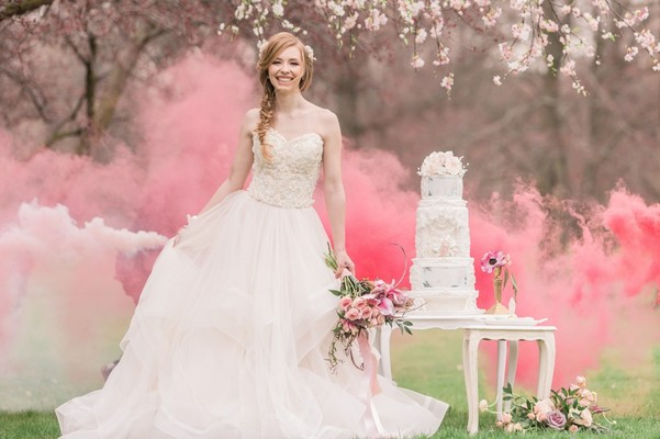 Princess Worthy Wedding Ideas With Cherry Blossoms & Smoke Bombs