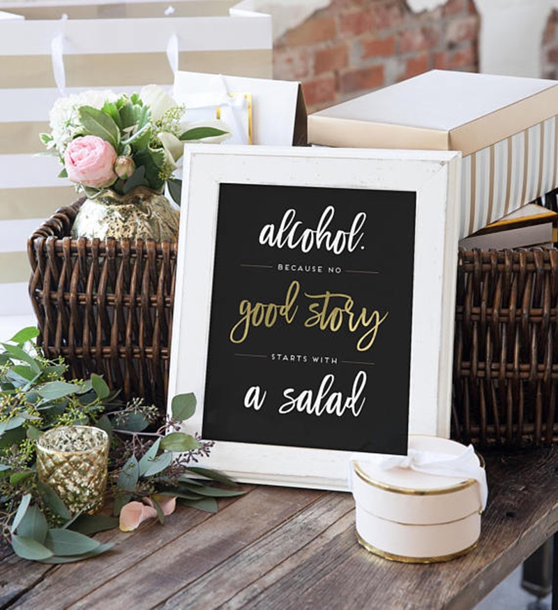 Miss Design Berry's fun wedding sign features modern text with gold accents. If you wish to change the gold to another color, you have