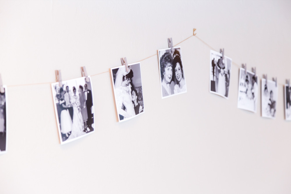 hanging photos to personalize the space