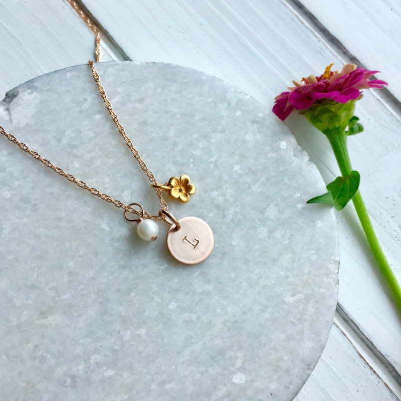 Personalized Initial Necklaces with a tiny pearl and flower charm - make darling Flower Girl Gifts