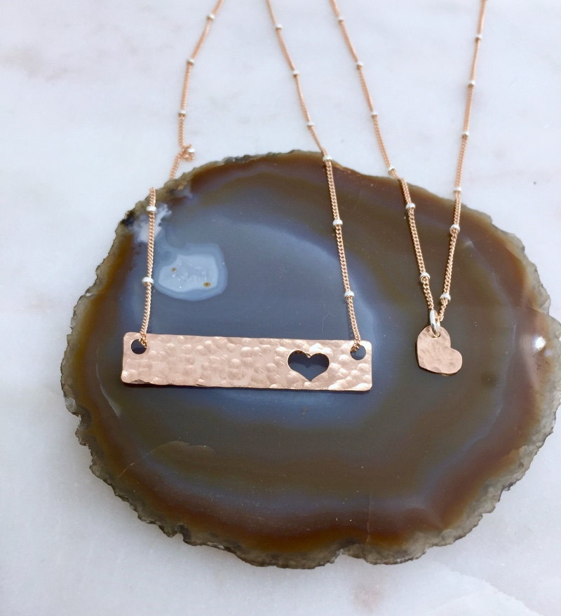 Rose Gold Perfection! Tell Mom how much she is loved, Mother Daughter Bar Necklace Sets