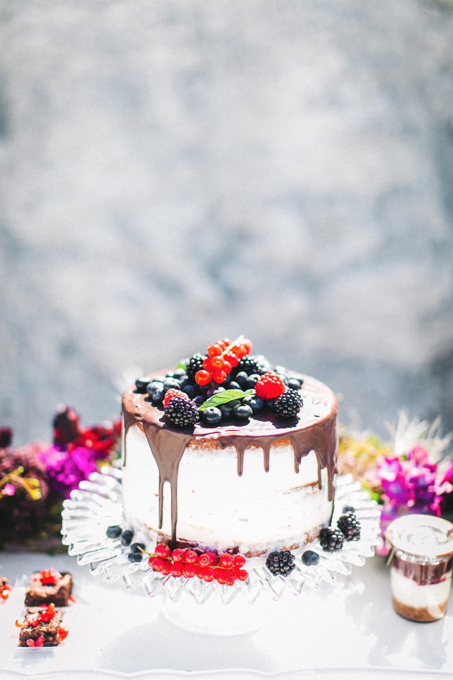 Berry chocolate drop naked cake