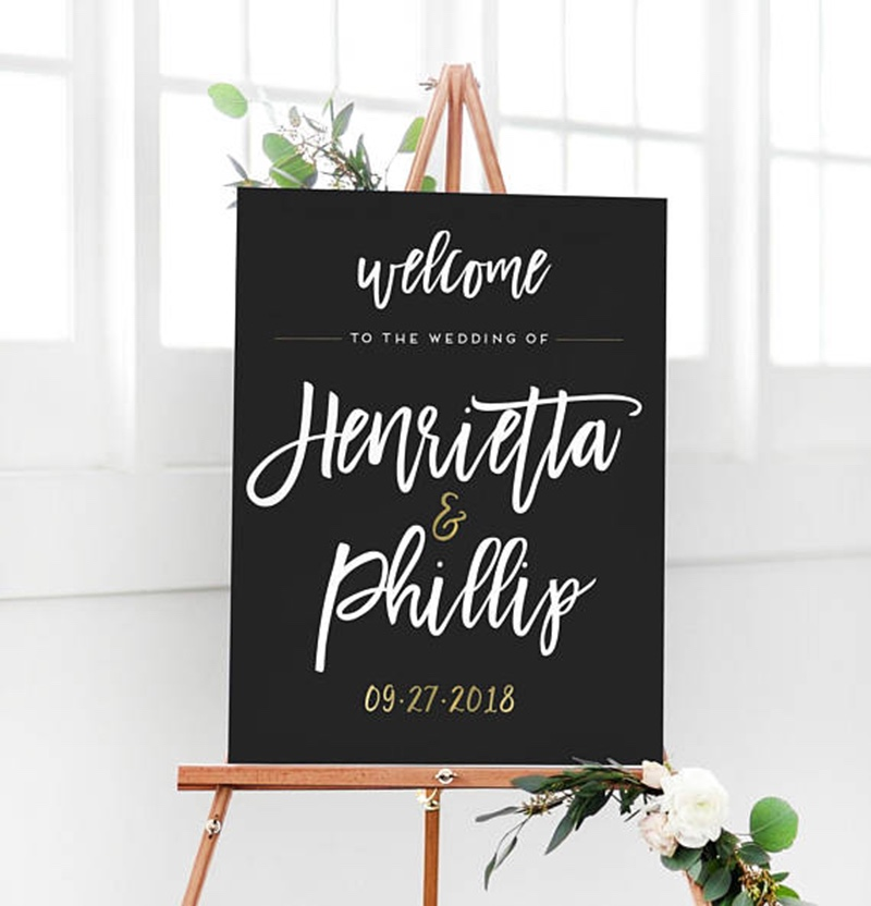 Miss Design Berry's black and gold wedding welcome sign features dynamic type for a modern, chic look. Customize this wedding welcome