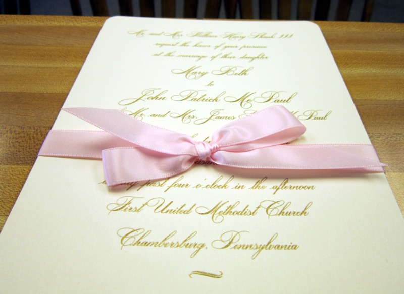 The perfect blush ribbon on an engraved invitation from Persnickety Invitation Studio.