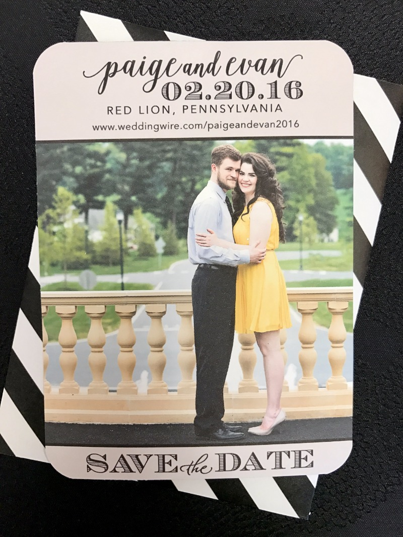 Black and white stripes matches so perfectly with this custom blush Save the Date by Persnickety Invitation Studio.