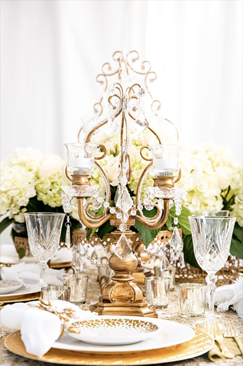 Wedding Table Ideas ~Gold Chandelier Candelabra with Tea Lights