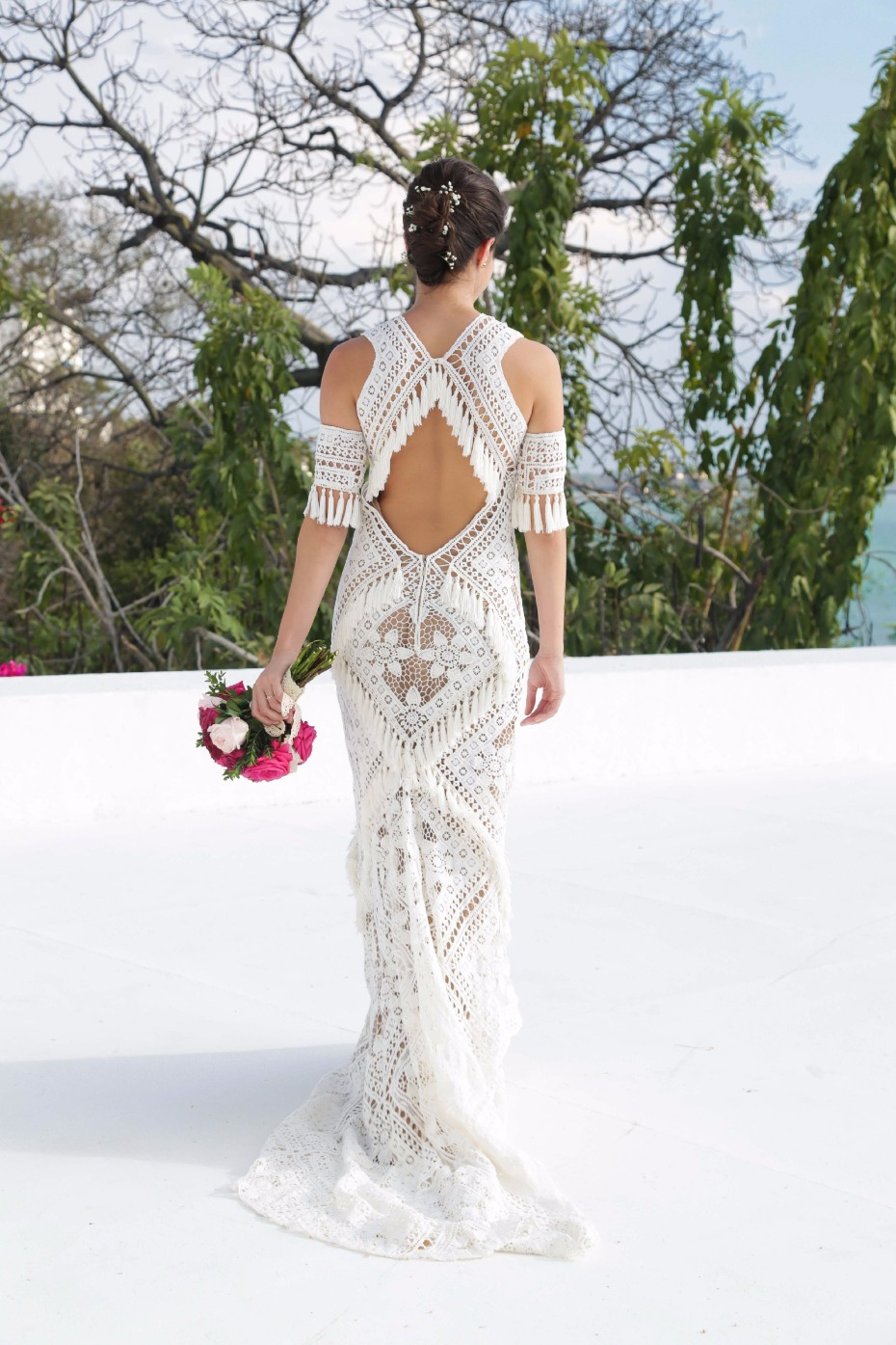 Boho lace + fringe gown on Still white