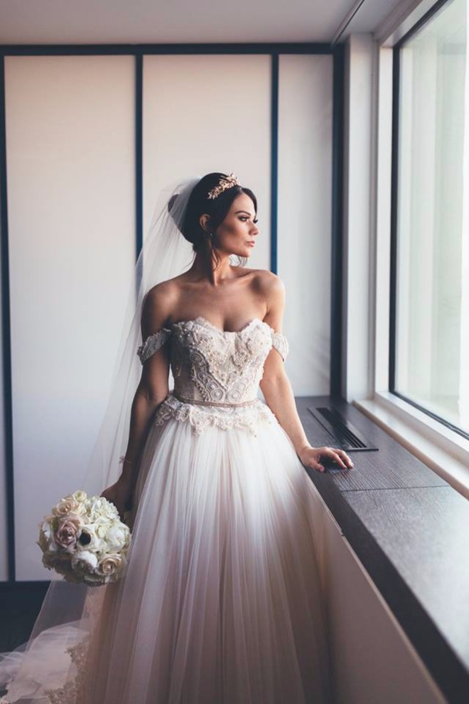 Dreamy off-the-shoulder gown on Still White