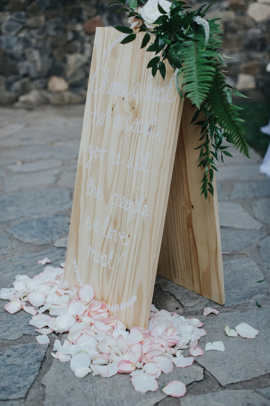 raw wood wedding sign