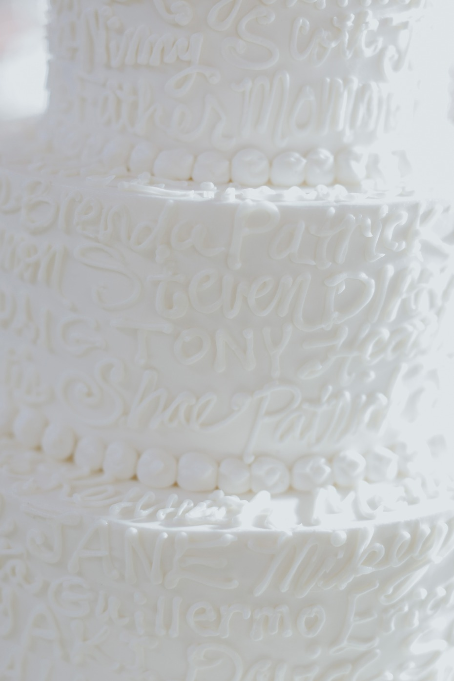 wedding cake decorated in all the guests names