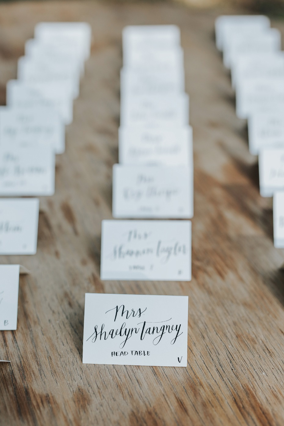 calligraphy wedding escort cards