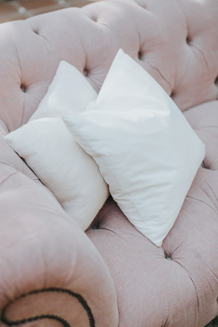soft pink and white wedding details