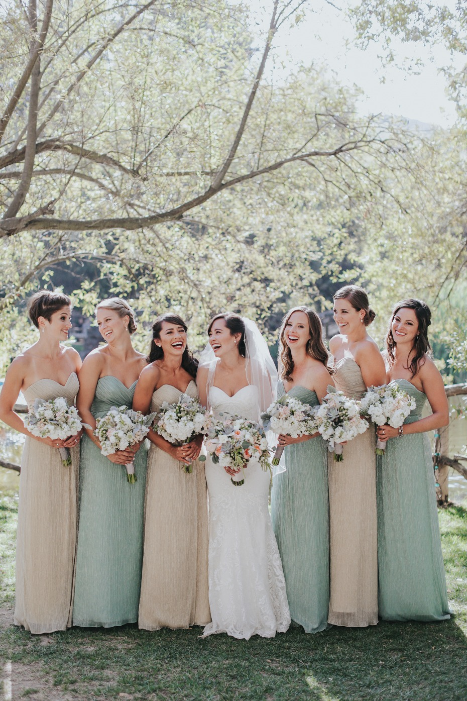 bridesmaids in champagne and mint dresses