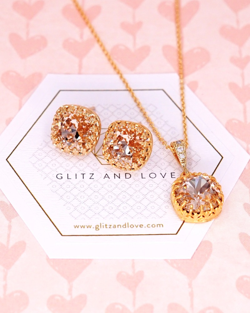Gold Ear Studs and necklace set, Swarovski Cushion Crystal, champagne wedding, bridal shower gifts, brides earrings, bridesmaids, wedding