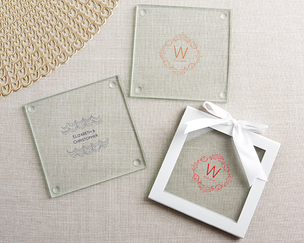 In a Modern Romance design, our Personalized Glass Coasters may be customized with your names and wedding date.