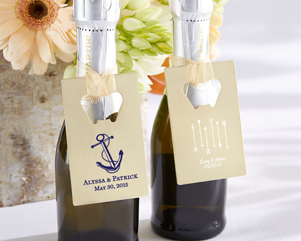Available in elegant gold and customized with your names or wedding details, these bottle openers slip perfectly into your wallet or