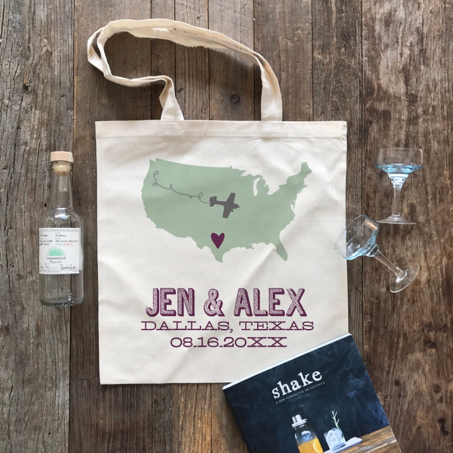 Airplane State Wedding Welcome Tote