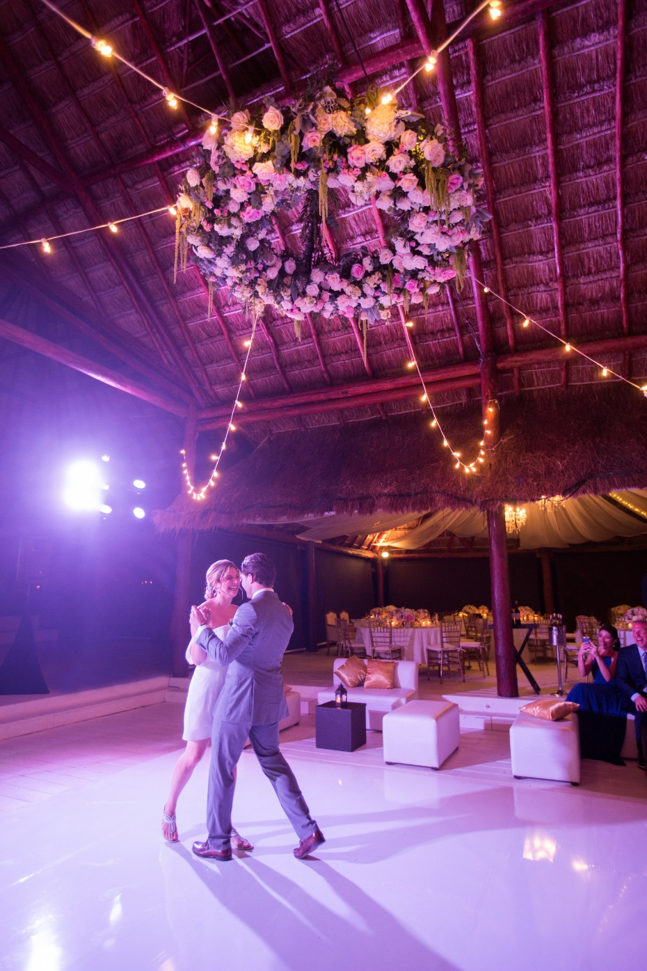 Gorgeous floral chandelier for their first dance