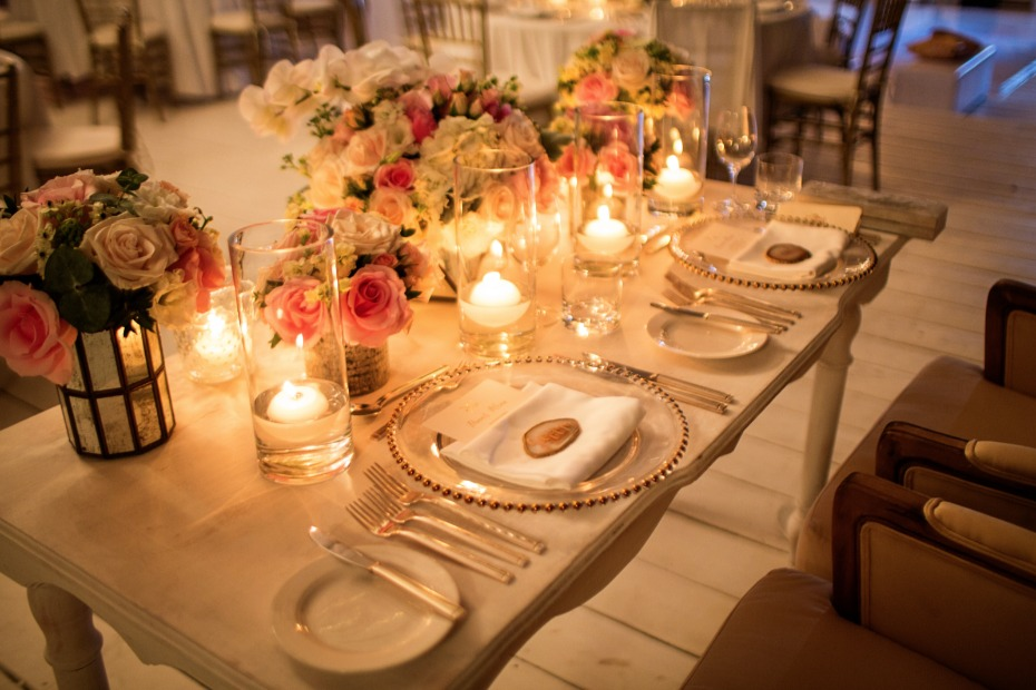 Candle lit sweetheart table