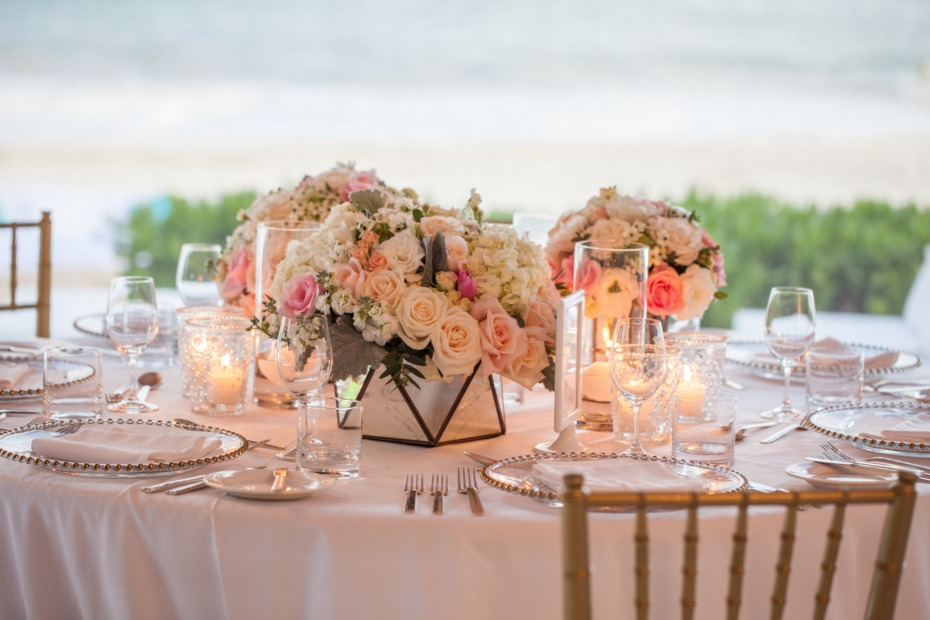 Glass box centerpieces