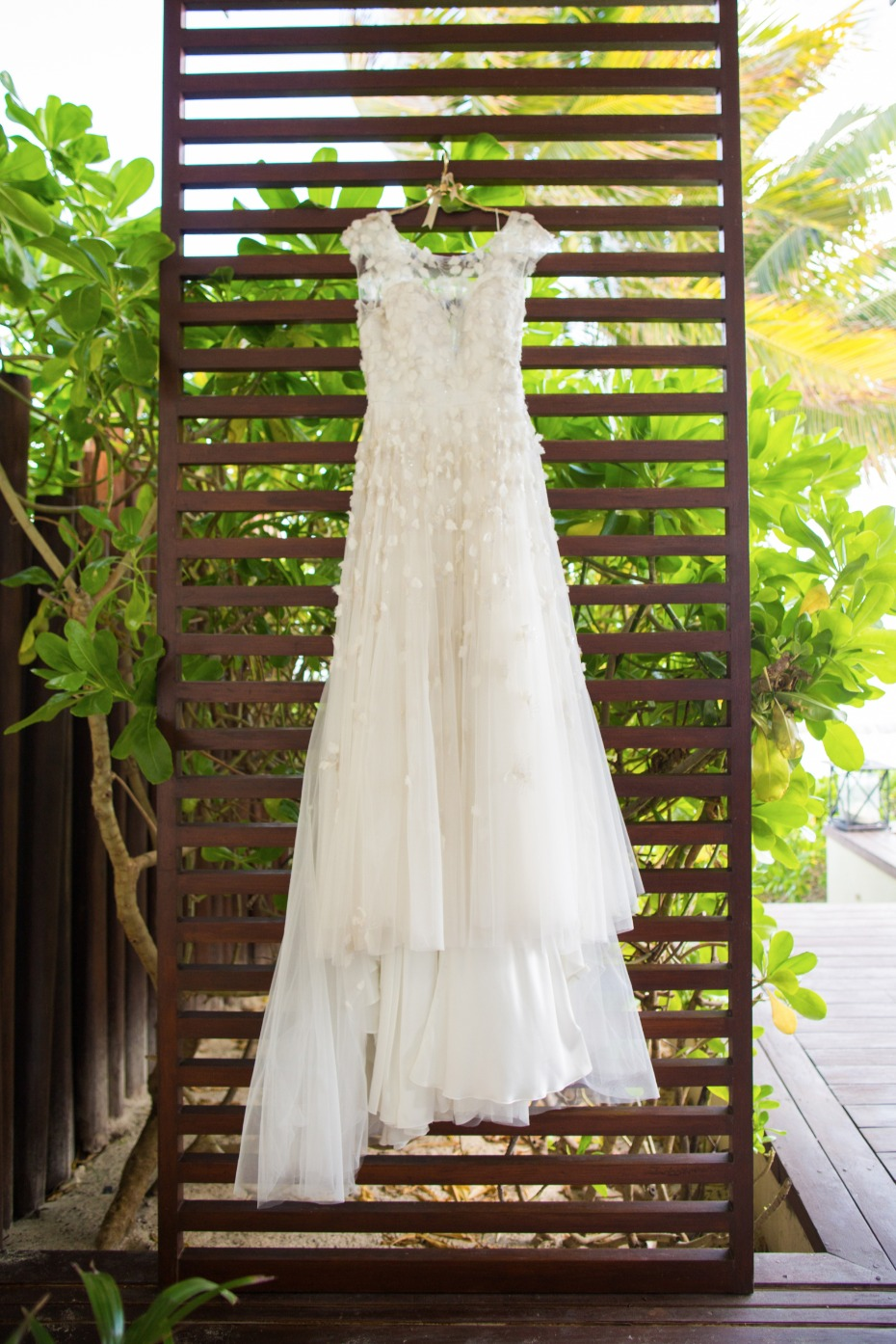 Tulle wedding dress with flower appliques