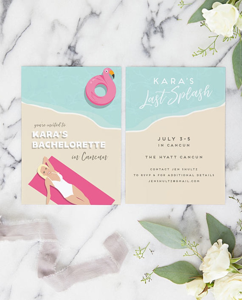 Aloha, beaches. Miss Design Berry's beach bachelorette party invitation is like NO other! Featuring a custom portrait of the bride