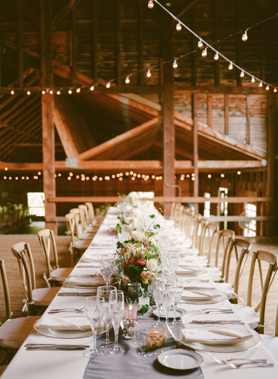 long family style wedding table