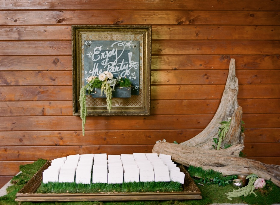 organic wedding escort card station