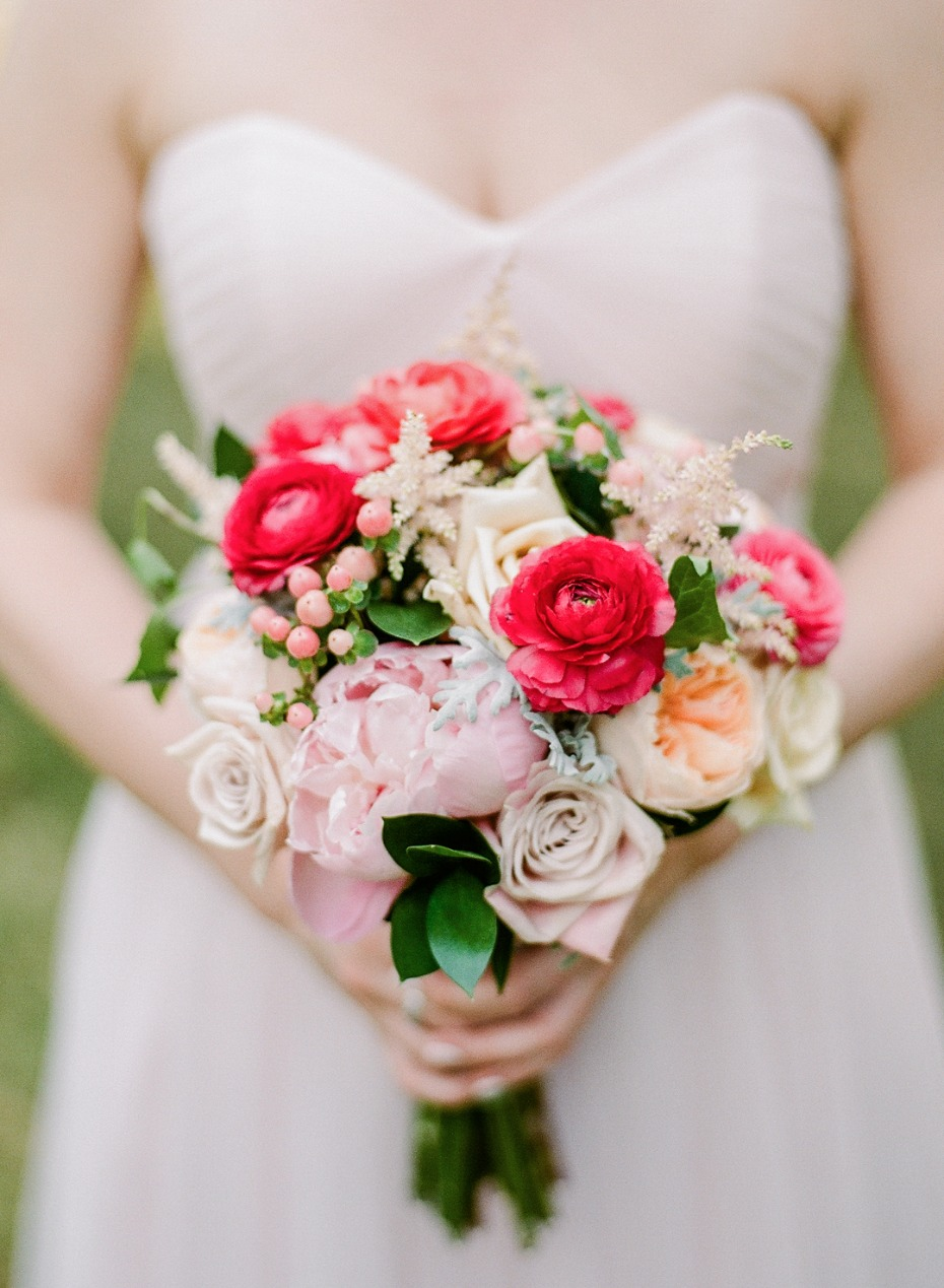 hot pink and blush wedding bouquet
