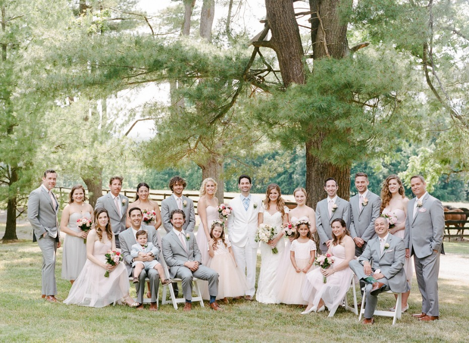 blush and light grey wedding party