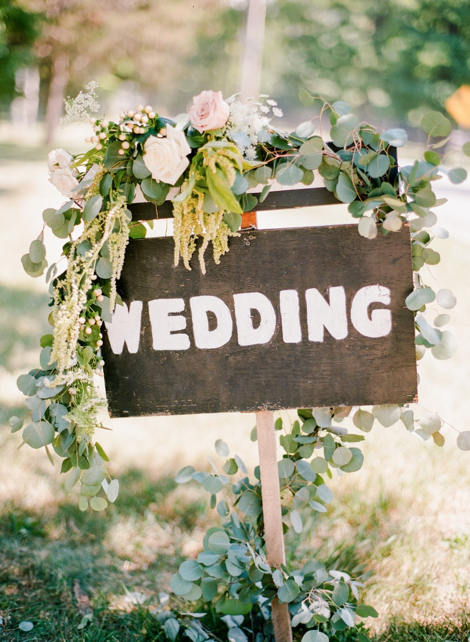 wedding sign with flower accents