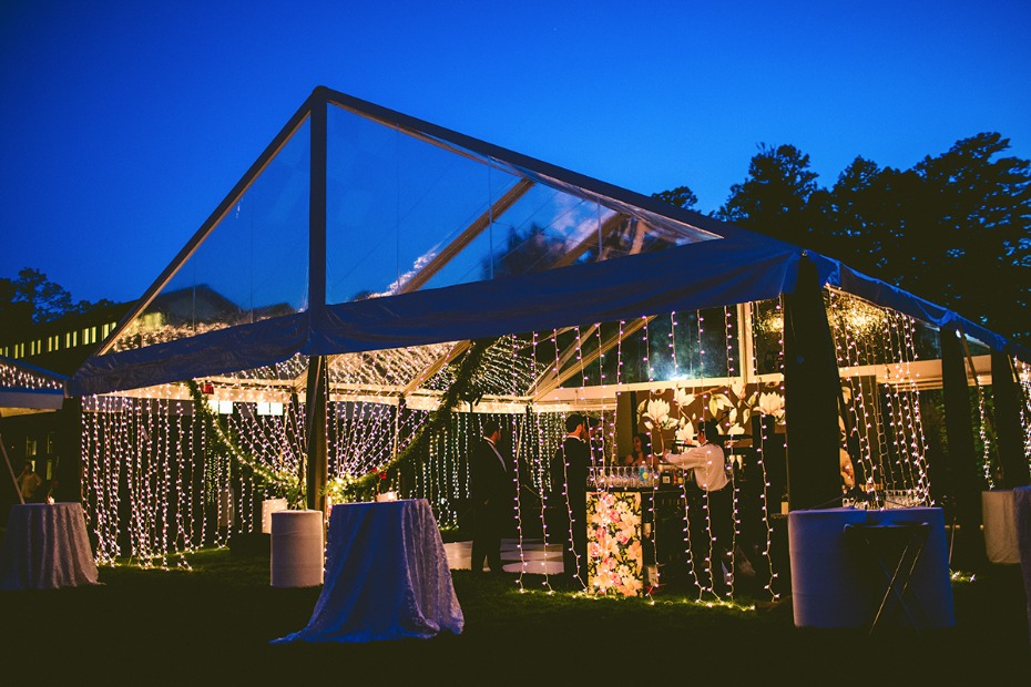Clear tent with string lights