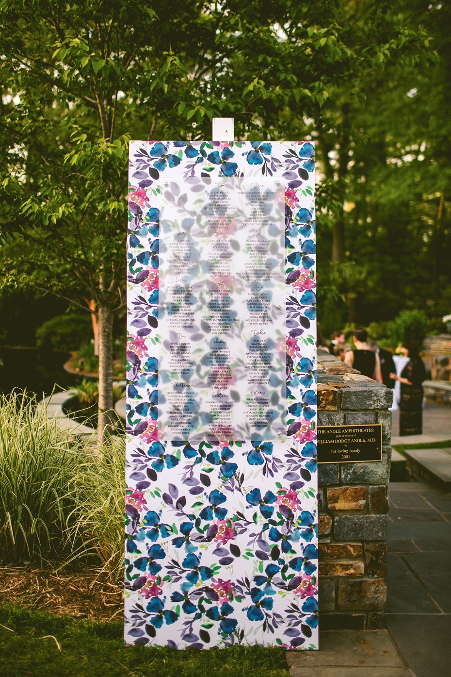 Modern floral seating chart idea